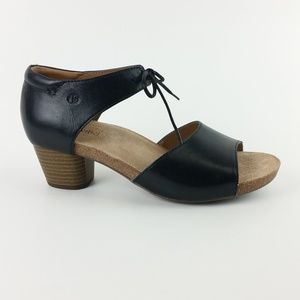 Josef Seibel Black Leather Sandals S12-18